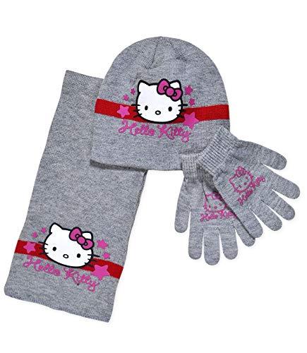 Sanrio Hallo Kitty Handschuhe, Strickmütze und Schal Set One size 2-5 Jahre ()