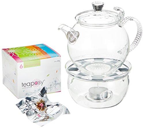 Feelino Dream Premium Teeblumen-Geschenkset mit Teekrug 700 ml, Glas-Stövchen und 6er-Box Teeblumen Medley