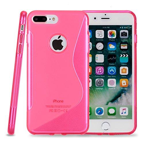 Kit Me Out FR® Coque en gel TPU pour Apple iPhone 7 Plus - blanc Vague en forme de S rose
