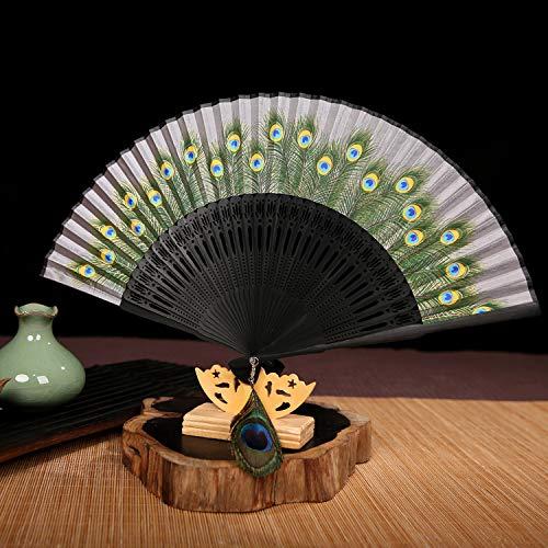Peacock Tail Fan - Handfächer,Sommer Im Chinesischen Stil Frauen Bambus