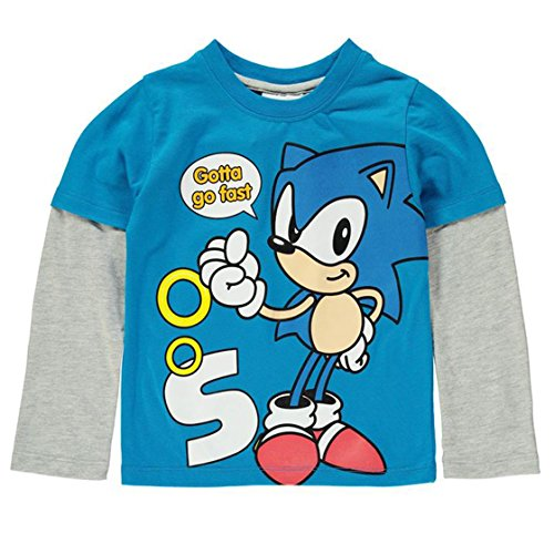 Image of Sonic the Hedgehog Boys Long Sleeve Printed T-shirt Blue/Grey Sega Cartoon Junior Kids Top 7-8