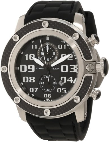 Glam Rock Men's GR33102 SoBe Chronograph Black Dial Black Silicone Watch