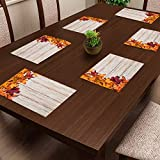 CASA-NEST PVC Printed Maple Placemats for Dining Table and Kitchen (45 x 30 cm) Set of 6 Pieces ||Hot Vessels Transparent Dining Mat