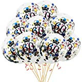 Oblique Unique® Konfetti Luftballon Set für 60. Geburtstag Feier Party Ballons 10 Stück bunt