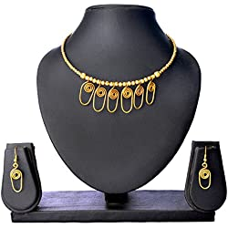 Maaati Brass Dokra Oval Spiral Necklace and Earrings