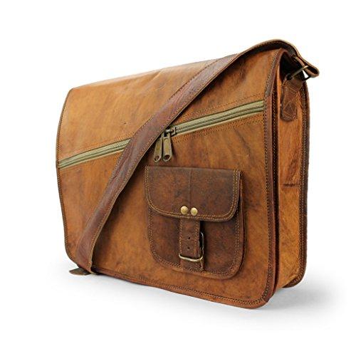 """A.P. Donovan - Leder-Notebook-Tasche 15"""" Umhängetasche Herren braun für Studium, Büro, Arbeit - Business-Laptop-Umhänge-Tasche mit Zubehörfach"""