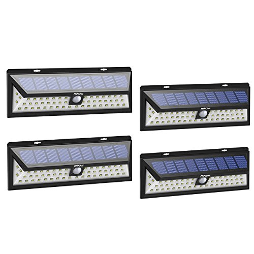Mpow 4 Stücke 54 LED Solarleuchte Außen Wasserdichte Solar Betriebene Lampe mit 120° Weitwinkel Bewegungs Sensor Solar für Garten, Terrasse, Wegbeleuchtung