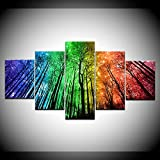 INFANDW Leinwanddruck 5 Panel Leinwand Art Farbe Baumlandschaft für Home Wohnzimmer Büro Trendig Eingerichtet Dekoration Geschenk (Rahmenlos) 200 x 100 cm