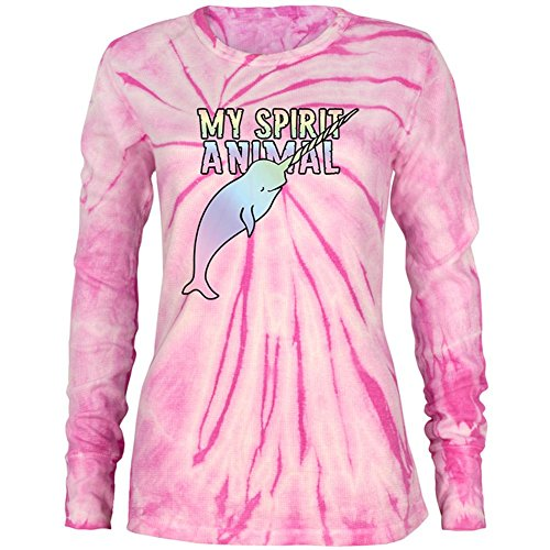 Junioren Long Sleeve Thermal (Mein Geist Tier Narwhal Einhorn Des Meeres Junioren Lange Ärmel Thermal Pink Spirale Krawatte Farbstoff SM)