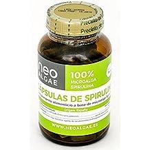 Cápsulas de Spirulina Neoalgae. 100% Spirulina organica sin antiaglomerantes. Concentración 350 mg por cápsula vegetal. 100% Apto para veganos.