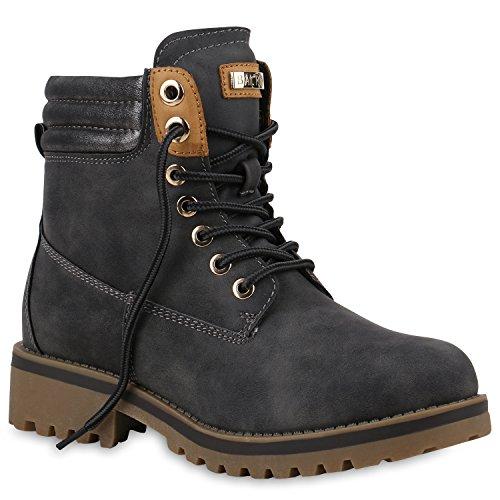 Damen Stiefeletten Worker Boots Warm Gefütterte Outdoor Schuhe 153728 Grau Cabanas 36 | Flandell® (Kurz Cabana)