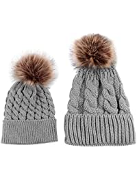 niceEshop(TM) Mom and Baby Winter Knitting Beanie Pom Pom Bobble Hats