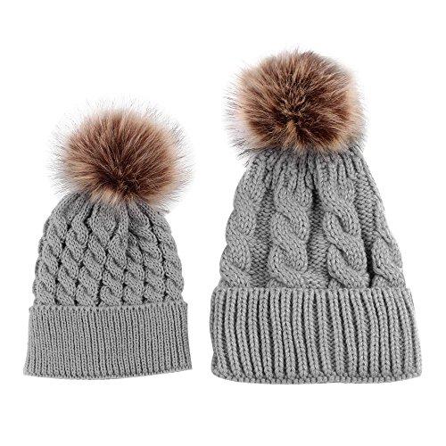 bc0a1aafe27 niceEshop(TM) Mom and Baby Winter Knitting Beanie Pom Pom Bobble Hats