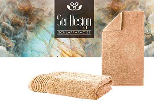 Sei Design® Luxus Handtuch 50x100 aus feinster Baumwolle, exklusiver Qualität 500 g/qm mit hochwertig aufgesticktem Logo, Terry Gold