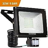 30W Security Light Motion Sensor Outdoor Light PIR LED Floodlight Outside Garden External Waterproof SAMHUE 2500lumen Floodlight With Sensor