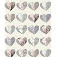 Arthouse Olivia Heart Shapes Roses Scripts Vintage Shabby Chic Love Wallpaper by Arthouse