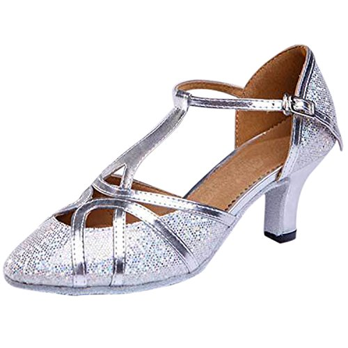 Oasap Women's Cross Strap Pointed Toe Latin Dance Shoes Silver-1