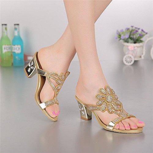 unicoratha Femme à Enfiler Mules Bloc Talon Strass Soirée Chaussures Sandales Or - doré