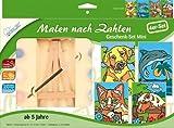 Mammut 114001 - Malen nach Zahlen Mini-Geschenkset mit Staffelei, Hund, Katze, Delfin, Pferd, je ca. 11 x 18 cm
