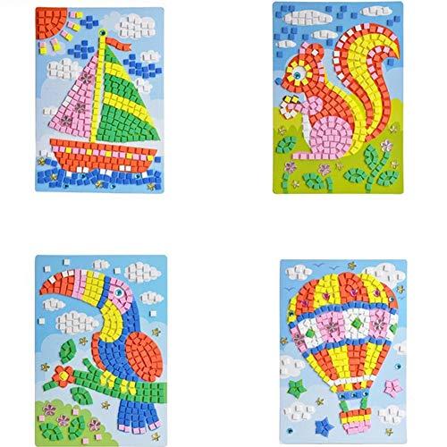 Sungpunet Mosaik-Aufkleber-Kunst Paste DIY handgemachte Kunst-Set Kinder-Puzzle Aufkleber Lernspielzeug - Segel, Eichhörnchen, Specht, Heißluft-Ballon-Muster (1 Set) HN0005A - 5D -