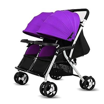 Cochecito gemelo /Sillas de paseo Sentarse o ponerse de pie Plegable y multifuncional Tendencia del bebé doble Basculador