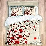 LISNIANY Set Biancheria da Letto,Plum Blossom Orientale della Pittura di Stile del Fiore Rosso nella Natura di Bellezza dell'albero di Primavera,1 Copripiumino 240x260cm+2 federe 50x80cm