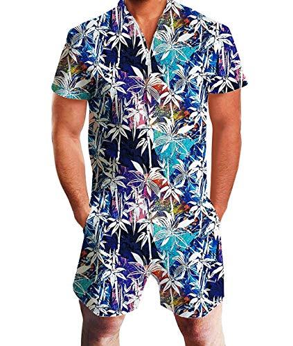 Fanient Herren Strampler Original Herren Strampler Shorts 3D gedruckt einteilig Slim Fit Outfits Trainingsanzüge für (Original Outfits Für Männer)