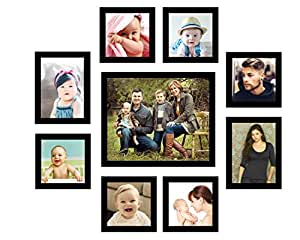 Swadesi Stuff Wooden Wall Hanging Collage Photo Frame (Black) - Set of 9