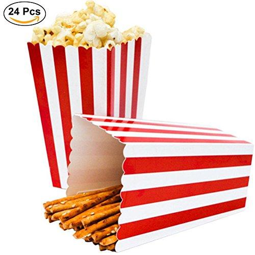 ZEEREE Popcorn Boxen Überraschung dekorative Streifenmuster für Party für Film Party Favors, 24pcs (rot)