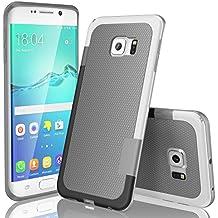 Funda Samsung Galaxy S6 Edge, HanLuckyStars, TPU Funda Carcasa para Galaxy S6 Edge, Carcasa Galaxy S6 Edge Funda con [Ultra Fina][Anti-Arañazos][Anti-Choques][Garantía de por vida](Gris Claro)
