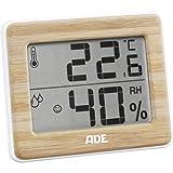 ADE Digitales Thermo-Hygrometer WS 1702 mit echtem Bambus. Thermometer mit präziser Anzeige der Temperatur, Hygrometer für Luftfeuchtigkeit und Komfortzonen-Indikator. LCD-Display. Inkl. Batterie