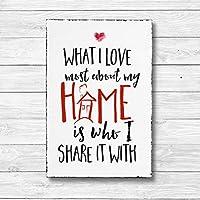What I love most about my home - Dekoschild Wandschild Holz Deko Wand Schild 20x30cm Holzdeko Holzbild Geschenk Mitbringsel Geburtstag