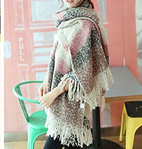 Tia-Ve Women Scarf Mohair New Thick sweater shawl Moose Fringe (PINK)