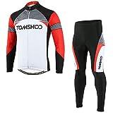 TOMSHOO Männer Radfahren Radtrikot Set Fahrradtrikot Schnell Trocken Langarm mit Hose für Mountain Biking