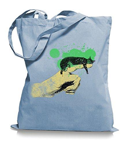 Ma2ca® Cat on Hand Katzen - Jutebeutel Stoffbeutel Tragetasche / Bag WM101 Skyblue