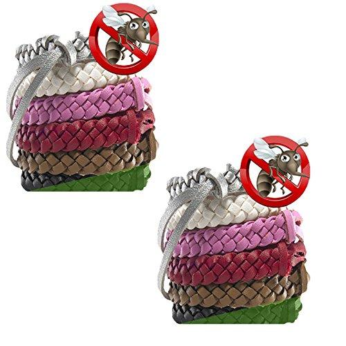 Mückenschutz-Armbänder 10pc Stilvolle Leder-Bänder, langanhaltender Schutz gegen Mücken und Insekten, ohne DEET, kein Spray, für Kinder/Babys/Erwachsene