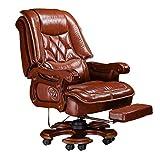 Geng Bürostuhl, Business Home Office Stuhl Computer Stuhl Leder Chef Stuhl Drehstuhl Chefsessel (Color : PU Material, Size : Brown)
