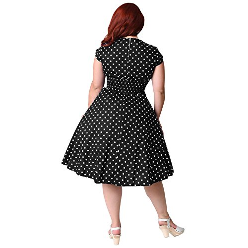 Chez BoBos Robe Femme Vintage Avec Pois Sans Manches Taille Haute Robe Grande Taille Noir et Pois Blanc