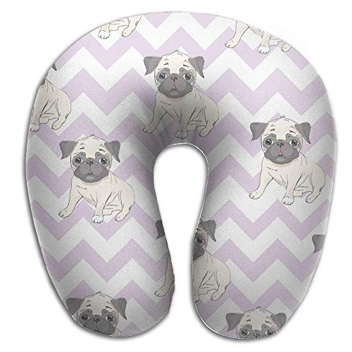 Uosliks Neck Pillow Cute Cartoon Dog Puppies U-Shape Travel Pillow Ergonomic Contoured Design Washable Cover Airplane Train Car Bus Office