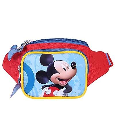 Sac à banane pour Petit Garçon Disney Mickey Mouse - Pochette ceinture avec poche avant - Sac de hanche coloré pour l'école avec bandoulière réglable - Rouge - 11x21x8 - Perletti