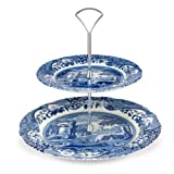 Spode Blue Italian 2 Tier Cake Stand - Gift Boxed