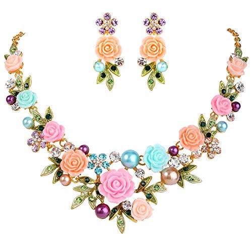 EVER FAITH Kristall Simulierte Perle Rose Blume Blatt Halskette Durchbohrte Ohrringe Set Multicolor Gold-Ton