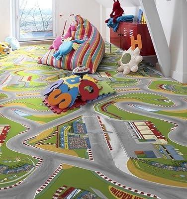 Multicolour Roadmap effect Vinyl Flooring- Children's Playtime Flooring-3 metres wide choose your own length in 1ft(foot)Lengths