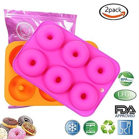 Goodlucky365 (2 stück) 6 silikon - kuchen formen, donut formen, donut - schokolade seife - gelee - backform, geeignet für geschirrspüler, backofen, mikrowelle, kühlschrank