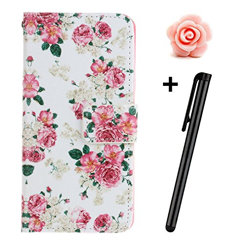 Custodia iPhone 7, Custodia iPhone 7S a portafoglio, prodotto TOYYM di alta qualità, decorazione con Fiori/Animali/ Personaggi, in ecopelle [chiusura magnetica] con Slot per carte per Iphone Apple 7 p Pink Rose