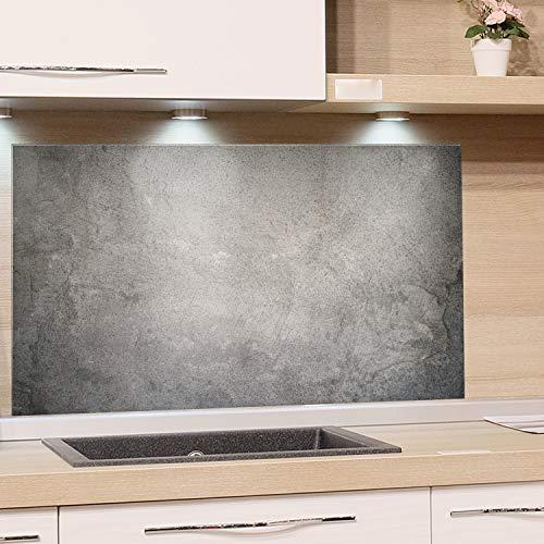 GRAZDesign Spritzschutz Glas, Bild-Motiv Granit Grau Marmor, Glasbild als Küchenrückwand - Küchenspiegel - Wandschutz Küche Herd / 60x40cm