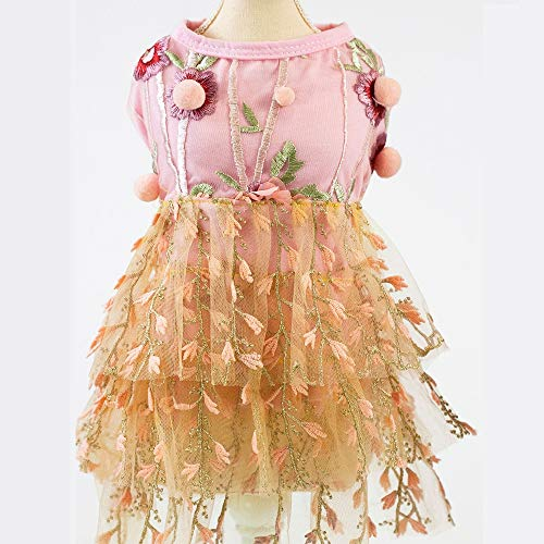 Abendkleid Für Hunde, Prinzessinnenkleider Mit Hundewelpen Kleid Mit Rock Im Kleid Kleid Auf Kuchenebene Wasserlösliche Blumenstickerei Goldfaden Tierkleidung,Orange,XL (Orange Und Lila Halloween-kuchen)