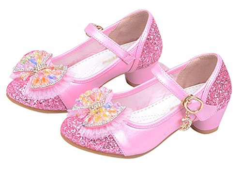 Brinny Mignon Fille PU Cuir Chaussures Escarpin à petite talon Paillette dentelle multicolore strasse Ballerines à bride cheville Fête Mariage pink