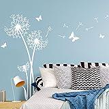 Wandaro W3422 Wandtattoo 3 Pusteblumen I weiß 72 x 140 cm I Schmetterlinge Aufkleber Wohnzimmer Wandaufkleber Schlafzimmer Wandsticker