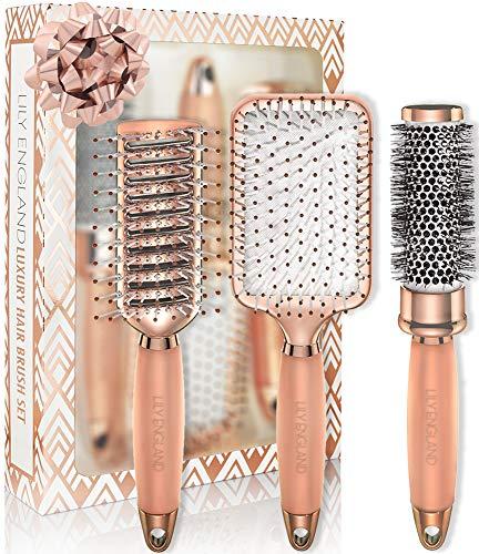 Lily England Haarbürsten Set - Luxus Haar Styling Set mit Haarbürste, Rundbürste, Skelettbürste in Rosegold - für dünnes & dickes Haar